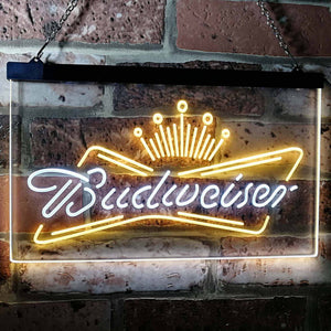 Budweiser Crown 1 Neon-Like LED Sign - Dual Color - White and Yellow - SafeSpecial