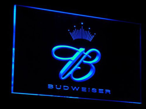 Budweiser Crowned B LED Neon Sign - Blue - SafeSpecial