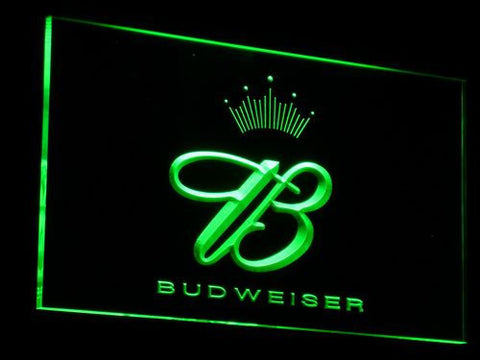 Budweiser Crowned B LED Neon Sign - Green - SafeSpecial