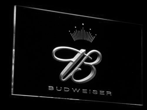 Budweiser Crowned B LED Neon Sign - White - SafeSpecial