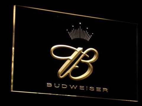 Budweiser Crowned B LED Neon Sign - Yellow - SafeSpecial