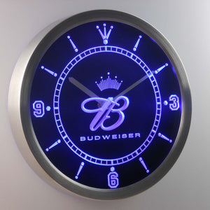 Budweiser Crowned B LED Neon Wall Clock - Blue - SafeSpecial