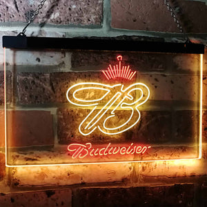 Budweiser Crowned B Neon-Like LED Sign - Dual Color - Red and Yellow - SafeSpecial