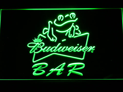 Budweiser Frog Bar LED Neon Sign - Green - SafeSpecial