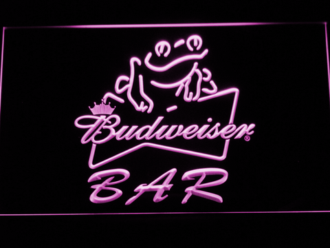 Budweiser Frog Bar LED Neon Sign - Purple - SafeSpecial