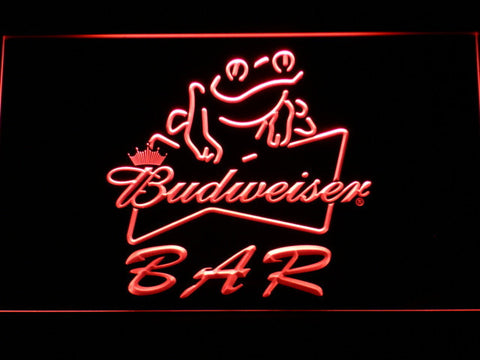 Budweiser Frog Bar LED Neon Sign - Red - SafeSpecial