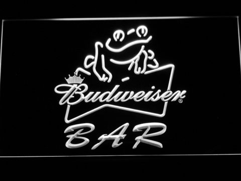 Budweiser Frog Bar LED Neon Sign - White - SafeSpecial