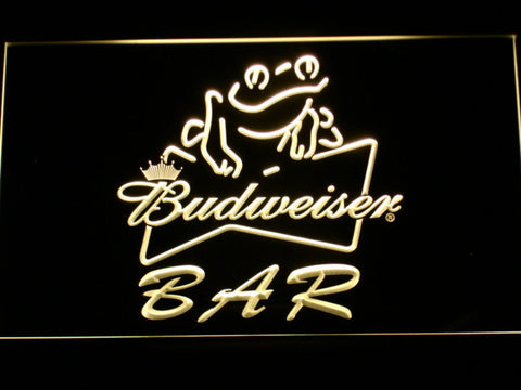 Budweiser Frog Bar LED Neon Sign - Yellow - SafeSpecial