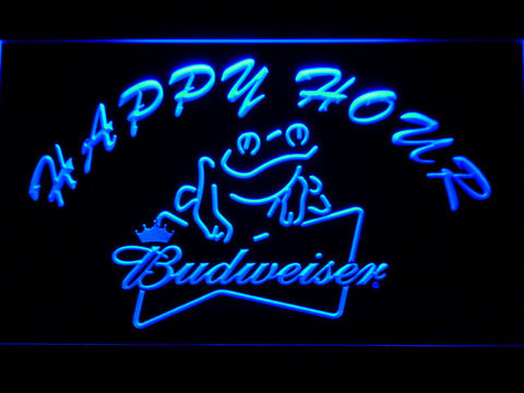 Budweiser Frog Happy Hour LED Neon Sign - Blue - SafeSpecial