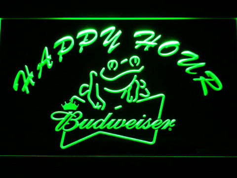 Budweiser Frog Happy Hour LED Neon Sign - Green - SafeSpecial