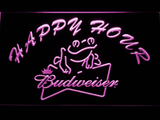 Budweiser Frog Happy Hour LED Neon Sign - Purple - SafeSpecial
