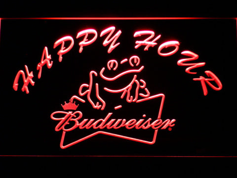 Budweiser Frog Happy Hour LED Neon Sign - Red - SafeSpecial