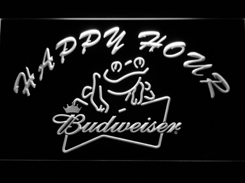 Budweiser Frog Happy Hour LED Neon Sign - White - SafeSpecial