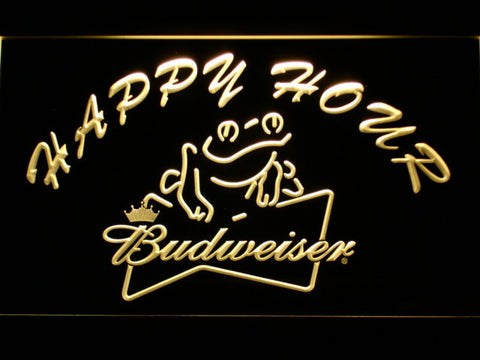 Budweiser Frog Happy Hour LED Neon Sign - Yellow - SafeSpecial