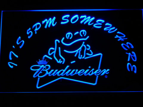 Image of Budweiser Frog It's 5pm Somewhere LED Neon Sign - Blue - SafeSpecial
