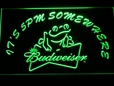 Image of Budweiser Frog It's 5pm Somewhere LED Neon Sign - Green - SafeSpecial