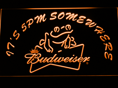 Budweiser Frog It's 5pm Somewhere LED Neon Sign - Orange - SafeSpecial