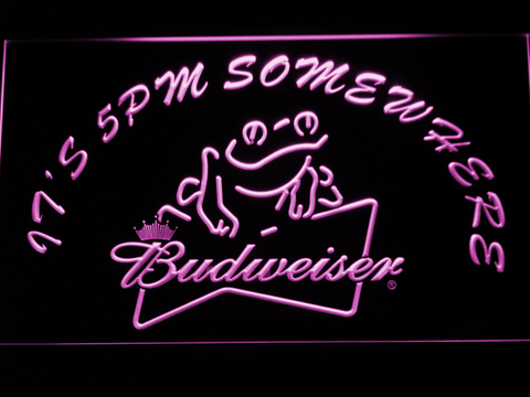 Image of Budweiser Frog It's 5pm Somewhere LED Neon Sign - Purple - SafeSpecial