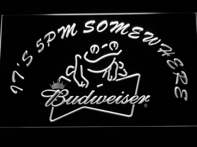 Budweiser Frog It's 5pm Somewhere LED Neon Sign - White - SafeSpecial