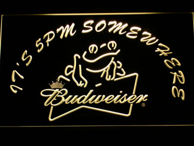 Budweiser Frog It's 5pm Somewhere LED Neon Sign - Yellow - SafeSpecial