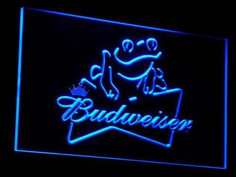 Budweiser Frog LED Neon Sign - Blue - SafeSpecial