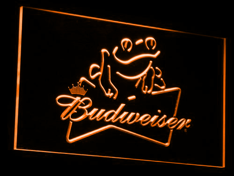 Budweiser Frog LED Neon Sign - Orange - SafeSpecial