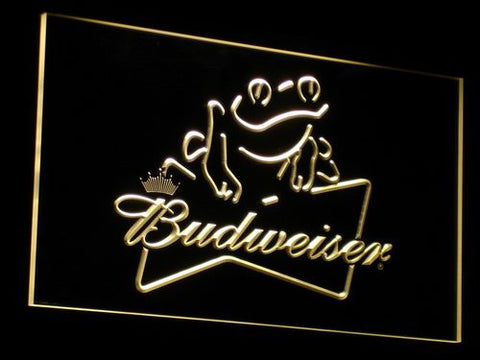 Budweiser Frog LED Neon Sign - Yellow - SafeSpecial