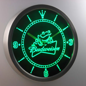 Budweiser Frog LED Neon Wall Clock - Green - SafeSpecial