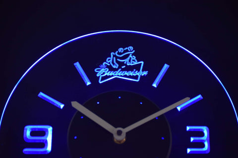 Image of Budweiser Frog Modern LED Neon Wall Clock - Blue - SafeSpecial