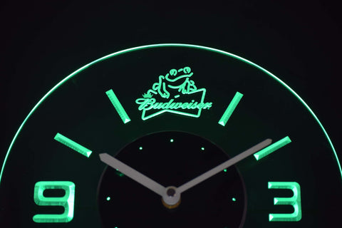Budweiser Frog Modern LED Neon Wall Clock - Green - SafeSpecial