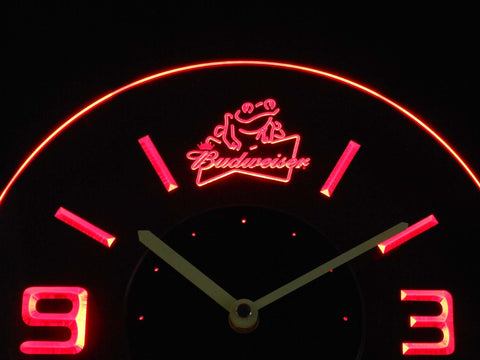 Image of Budweiser Frog Modern LED Neon Wall Clock - Red - SafeSpecial
