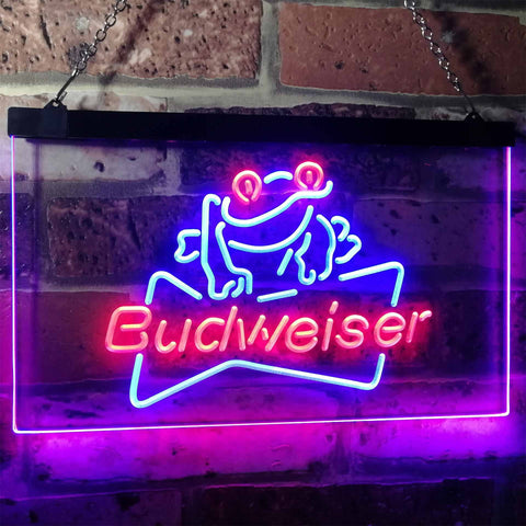 Budweiser Frog Neon-Like LED Sign - Dual Color - Blue and Red - SafeSpecial