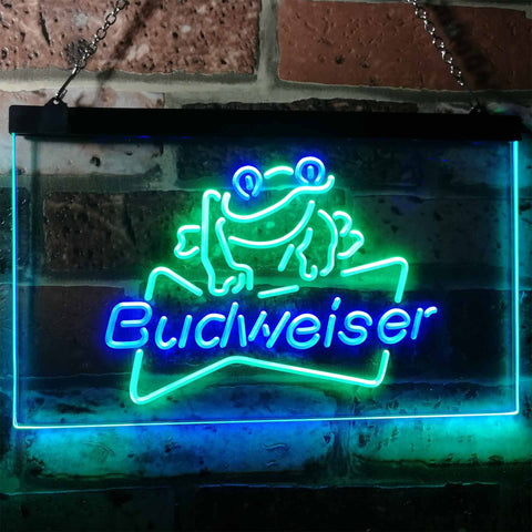 Budweiser Frog Neon-Like LED Sign - Dual Color - Green and Blue - SafeSpecial