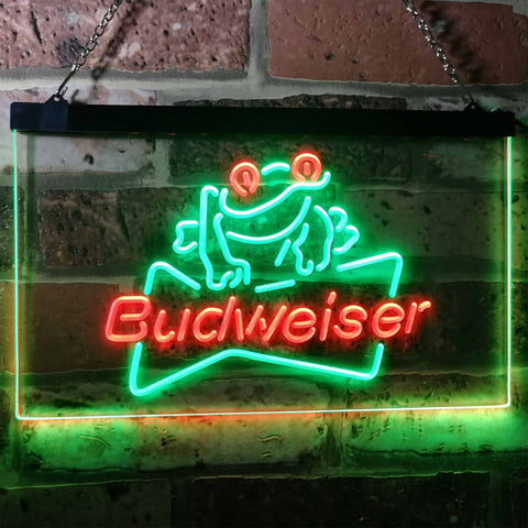 Budweiser Frog Neon-Like LED Sign - Dual Color - Green and Red - SafeSpecial