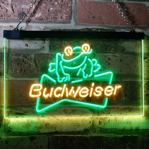 Budweiser Frog Neon-Like LED Sign - Dual Color - Green and Yellow - SafeSpecial