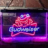 Budweiser Frog Neon-Like LED Sign - Dual Color - Red and Blue - SafeSpecial