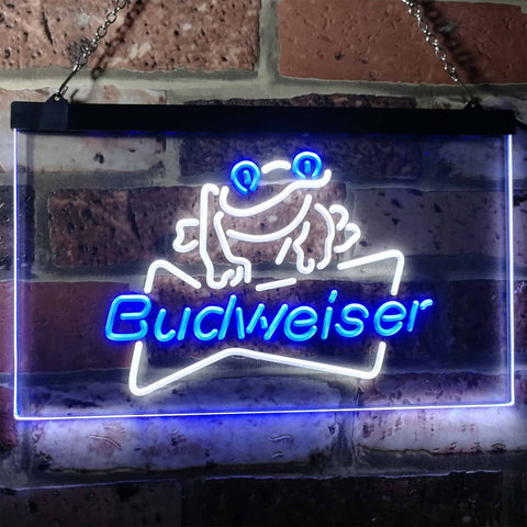 Budweiser Frog Neon-Like LED Sign - Dual Color - White and Blue - SafeSpecial