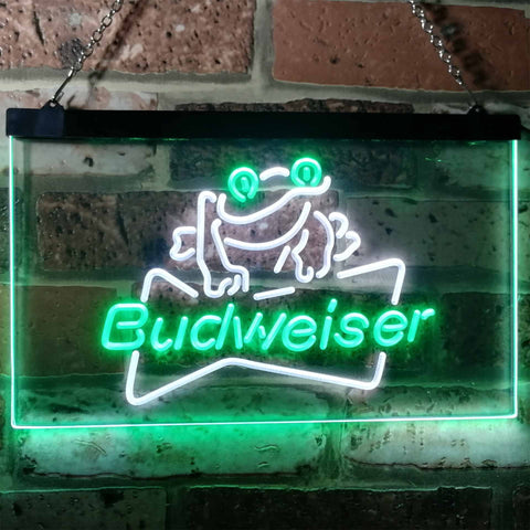 Budweiser Frog Neon-Like LED Sign - Dual Color - White and Green - SafeSpecial