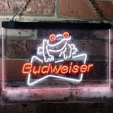 Budweiser Frog Neon-Like LED Sign - Dual Color - White and Orange - SafeSpecial