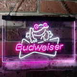 Budweiser Frog Neon-Like LED Sign - Dual Color - White and Purple - SafeSpecial