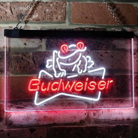 Budweiser Frog Neon-Like LED Sign - Dual Color - White and Red - SafeSpecial