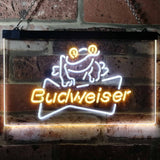 Budweiser Frog Neon-Like LED Sign - Dual Color - White and Yellow - SafeSpecial