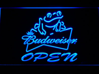 Budweiser Frog Open LED Neon Sign - Blue - SafeSpecial