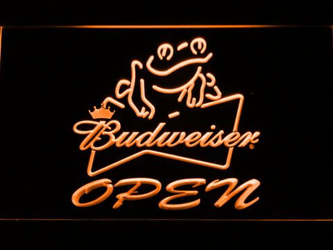 Image of Budweiser Frog Open LED Neon Sign - Orange - SafeSpecial