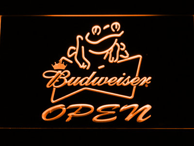 Budweiser Frog Open LED Neon Sign - Orange - SafeSpecial