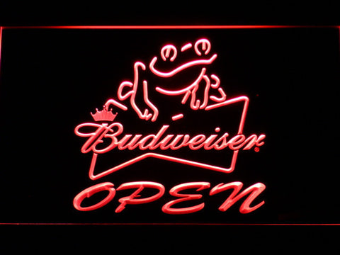 Image of Budweiser Frog Open LED Neon Sign - Red - SafeSpecial