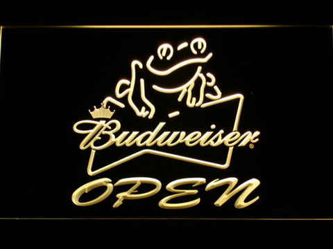 Image of Budweiser Frog Open LED Neon Sign - Yellow - SafeSpecial