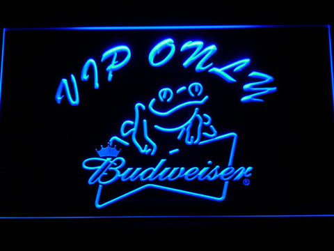 Budweiser Frog VIP Only LED Neon Sign - Blue - SafeSpecial