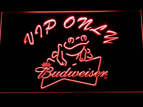 Budweiser Frog VIP Only LED Neon Sign - Red - SafeSpecial