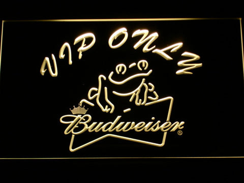 Budweiser Frog VIP Only LED Neon Sign - Yellow - SafeSpecial